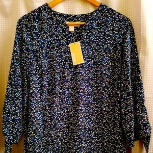 Michael Kors Womens Floral Navy Blouse Small NWT